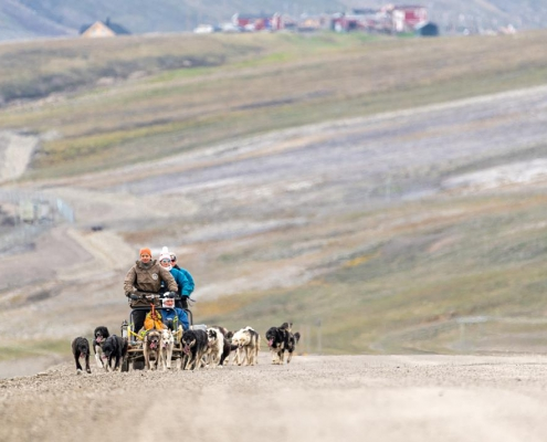 Family sightseeing by dog wagon-svalbard