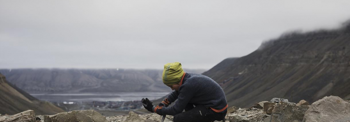 Fossil hunting with polar dog - Green Dog Svalbard